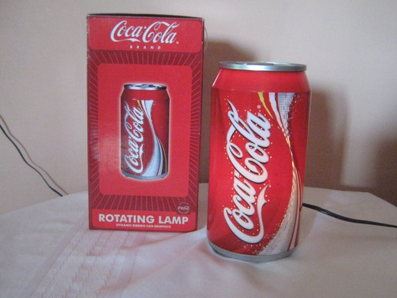 Elegant Vintage Rotating Coca Cola Lamp With Original Box 618/28