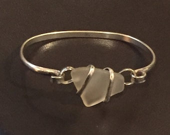 Vintage White Sea Glass Bracelet - 1980's