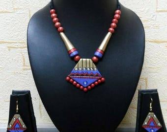 Unique Eco Friendly Handmade Terracotta Necklace Set