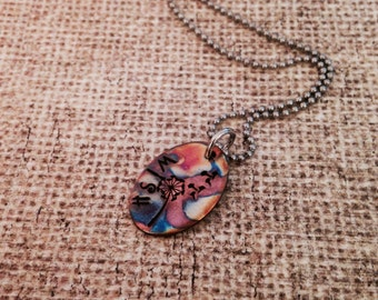 Wish-hand stamped flame painted copper pendant necklace- make a wish- dandelion