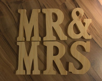 "Wedding, Bridal Shower, Engagement Party MR & MRS Coconut Oil Stained 8"" Wooden Letters"
