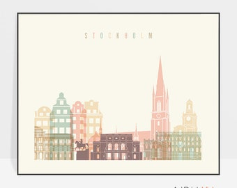 Stockholm art print, Stockholm poster, Stockholm wall art, Sweden Stockholm skyline art, Travel poster, Home Decor, ArtPrintsVicky