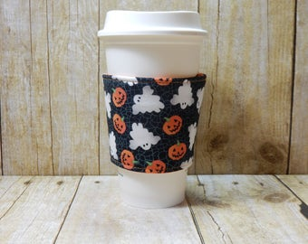 Fabric Coffee Cozy / Ghosts and Pumpkins Coffee Cozy / Halloween Coffee Cozy / Pumpkins Coffee Cozy / Ghosts Coffee Cozy / Coffee Cozy