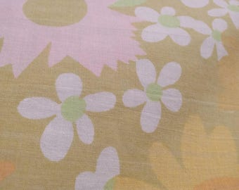 Vintage Twin Flat Sheet with Flowers