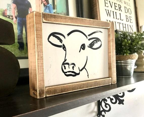 Farmhouse Sign | Calf Sign | Cow Sign | Modern Farmhouse | Fixer Upper | Ranch Sign | Baby Cow Sign | Framed Farmhouse Sign