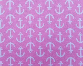 Pink Anchors Fabric, Nautical Fabric, WV Anchors Carnation White Cotton Fabric