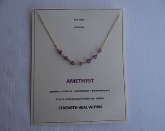 Amethyst gold filled centered gem choker