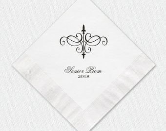 Senior Prom Beverage Napkins, Personalized 3 Ply Premium Paper Napkins For Prom, Color Options Available, See Images.