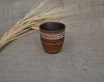 Hand Made Clay Glassful Decor Ethno Angloob  Drinking Glass Pottery Tumbler Ceramic Red Clay Ethnic Cup 200 ml 6.7 oz 0.35 pint