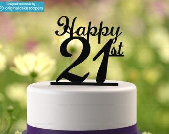 "21st Birthday Cake Topper - ""Happy 21st"" - BLACK - OriginalCakeToppers"