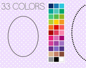 Dotty Oval Digital Borders - Clip Art Frames - Instant Download - Commercial Use