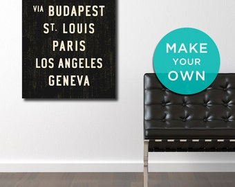 PERSONALIZED Wall Decor, Custom Subway Sign Art, Custom Wall Art, Subway Art, Travel Art, Typography Art, Wall Sign, Gift for Him. 24 x 36