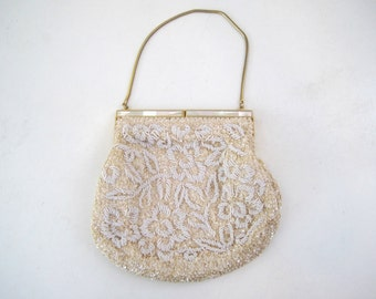 Vintage 1950s Beaded Evening Purse with Mother of Pearl and Gold Clasp - Cream Sequins with White Pearl Beads in Floral Pattern - Mad Men