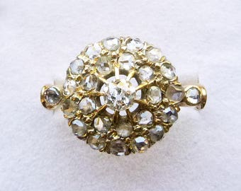 Victorian 18k gold old mine and rose cut diamond halo cluster antique engagement ring 1 carat TW size 6.25