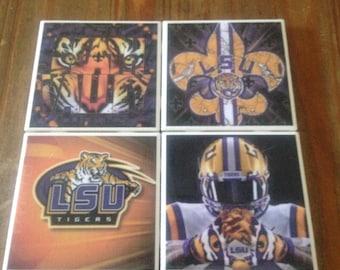 LSU Ceramic Tile Coasters
