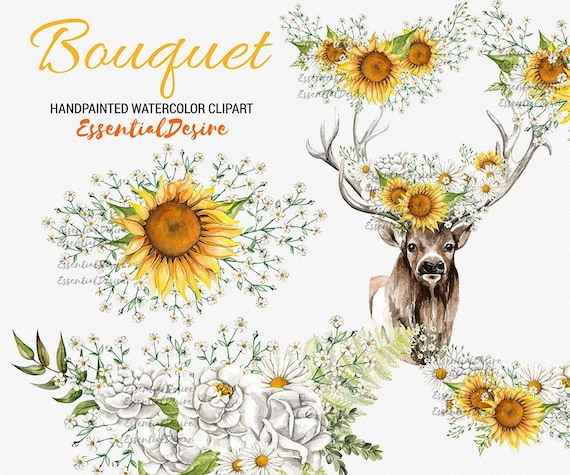 Sunflowers Bouquet Clipart Floral Deer Antlers Rustic Wedding Flowers Gypsophila Orange White Crown Bouquets From StasiStudio