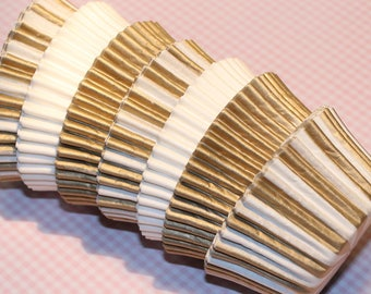 NEW - Gold Striped, White & Gold Heavy Duty Cupcake Liner Collection (Qty 30) Gold Striped Baking Cups, Gold Baking Cups, White Baking Cups