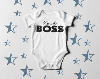Boss Baby One Piece I'm The BOSS Multiple Colours Available Bodysuit / Romper / Onesie / T-shirt
