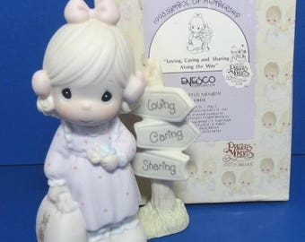 "Precious Moments ""Loving, Caring & Sharing Along the Way"" 1993 Symbol of Membership Figurine"