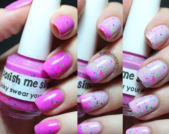 Pinky Swear I'm A Star -Color Changing Thermal Nail Polish:  Custom-Blended Indie Glitter Nail Polish / Lacquer