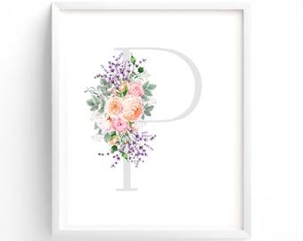 Letter P, Floral Nursery Wall Art, Nursery Prints, Printable Letter Monogram, Floral, Flower Lettering, Nursery Art, Baby monogram