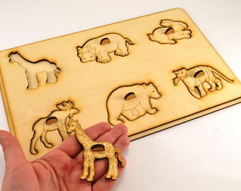 Wild animals puzzle Wooden puzzle Montessori toys Wooden animal gift Educational toys Animal puzzle Toy for autism Baby gifts Gift 1st