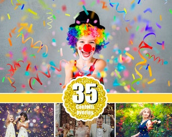 35 Confetti photo Photoshop overlays, realistic falling confetti, wedding birthday party celebration, blowing glitter, PNG
