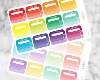 W109 Cleaning Sticker, Clean, Chores Sticker, Housework, Cleaning boxes, Planner Stickers, Erin Condren, Mambi, Filofax, Tick Boxes, Cute