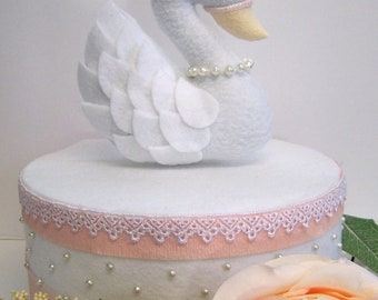 Swan Cake Topper, Princess cake topper, cake topper, princess, pink and gold first birthday, swan princess, white swan, swan cake topper