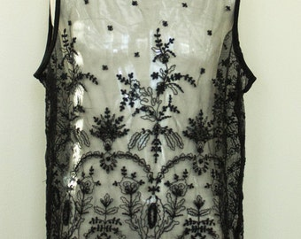 Beautiful Sheer Lace Top with black beading and scalloped hem