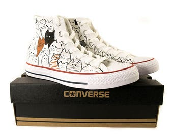 Converse high top, cat shoes, cat design converse, custom converse, converse all star,hand painted sneakers,Chuck Taylor All Stars, Converse