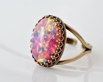 Fire Opal Ring, Large Opal Ring, Fire Opal Jewelry, Vintage Opal Ring, Silver Opal Ring, Oval Opal Stone Ring, Colorful Ring,Glass Opal Ring