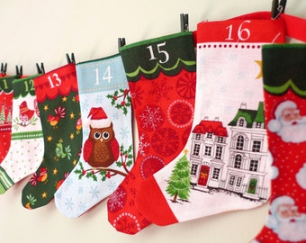 Advent calendar bunting, yule countdown banner, stocking bunting, CIJ, CHRISTMASINJULY, Christmas advent,