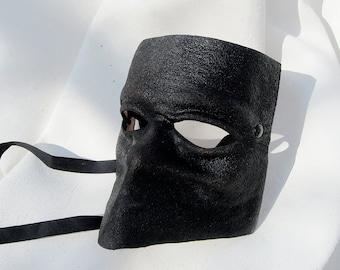 bauta venice carnival venetian casanova mask black leather costume larp renaissance wicca pagan magic burning man fantasy mardi gras