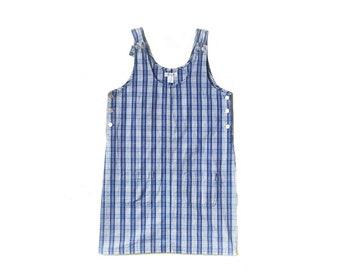 Vintage 1990s blue plaid overall dungarees jumper mini dress