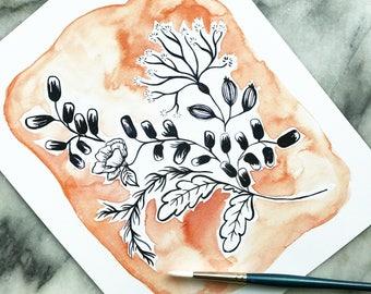 MANGO BLUSH and FLOWERS in Payne's Gray 8x10 // Art Print Flower Floral Garden Wreath Plant Watercolor Original Design
