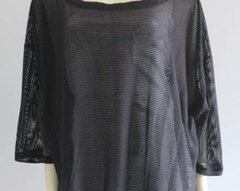 90's Vintage Black Sheer Mesh Oversize Half Sleeve Beach Goth Cover Up
