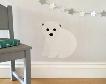 Polar Bear Wall Sticker - polar bear decal - arctic nursery - polar bear - arctic animals - wall stickers - decals - monochrome nursery