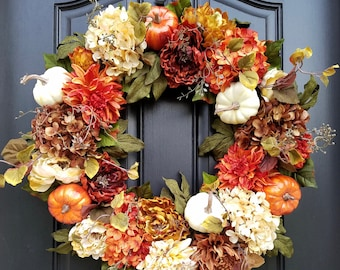 Fall WREATHS For Front Door, Fall Wreathes, Autumn Decor, Autumn Wreaths,  Thanksgiving Decor, XL Fall Wreaths, Front Door Wreaths