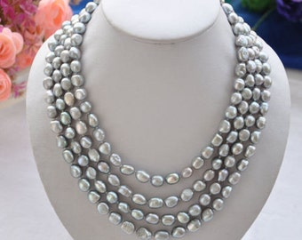 PEARL necklace - Baroque pearl necklace, 4 rows cultured 8-9mm gray freshwater pearl necklace