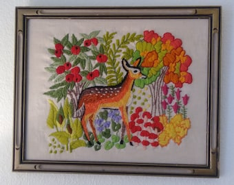 Vintage Crewel of Deer Trees Flowers - Embroidery Wall Art - Vibrant & Cool Frame!  16 3/8 X 13 3/8
