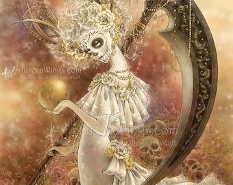 Free Shipping to US - Day of the Dead Skull Painted Beauty Catrina Fantasy Art - Santa Muerte - 8x10 Signed Print - by Mitzi Sato-Wiuff