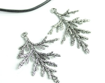 25%OFF Winter pine tree branch pendant antique silver branch charms minimalist jewelry evergreen twig necklace Casting Metal (TH260) 1pc