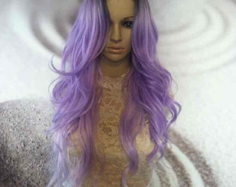 Ombre dark roots to lavender purple front lace Wig synthetic heat resistant 24''