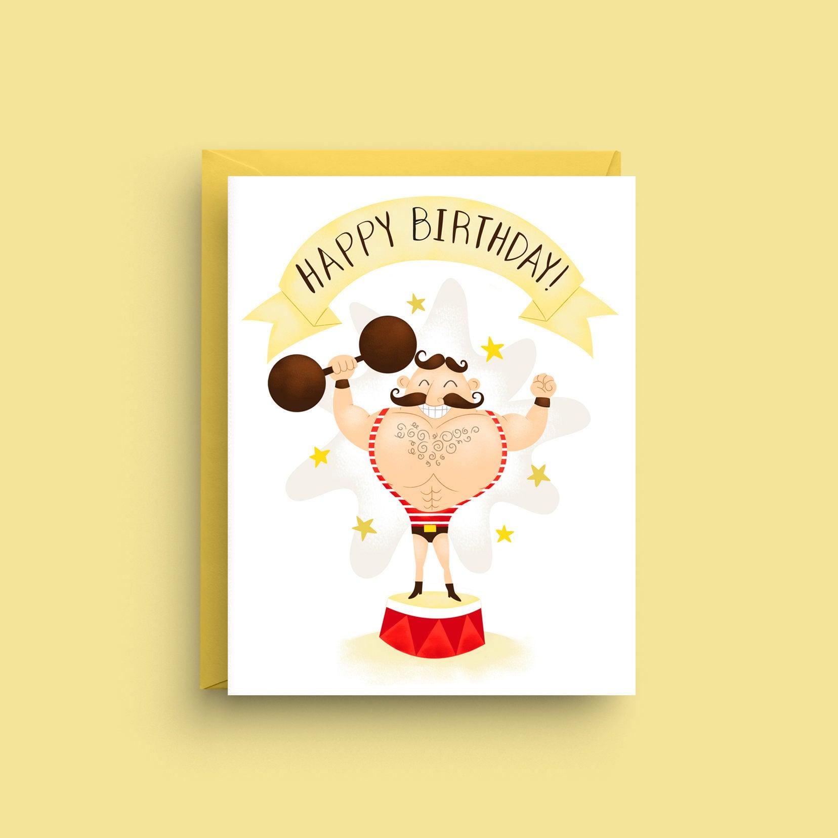 Happy Birthday Card Strong Man Card Funny Birthday Card