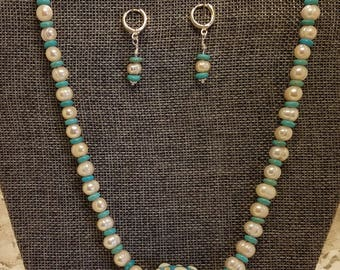 Beaded Necklace Set with Lampwork Focal Bead, Freshwater Pearls