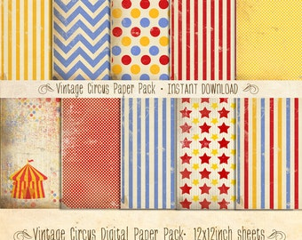 Vintage Circus Paper Pack 10 Digital Sheets - INSTANT DOWNLOAD - Scrapbooking Card Making Birthday Party Decoration by Sassaby