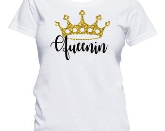 Queenin Shirt, Queen Shirt, Black Queen Shirt, Royalty Shirt, Queen Shirt with Gold Glitter Crown, Queenin Shirt with Crown