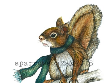 Giclee Print Squirrel 5x7 or 8x10