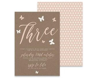 Printable Birthday Invitation | Butterfly Invite | Printable DIY Invite, Affordable Invitation, Digital Invite, Girl's Invite, 3rd Birthday